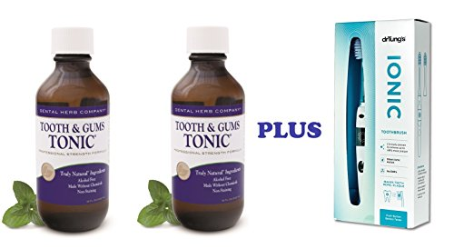 Dental Herb Company Tooth & Gums Tonic 18 Oz. Pack of 2 Bottles + Dr. Tung Ionic Toothbrush