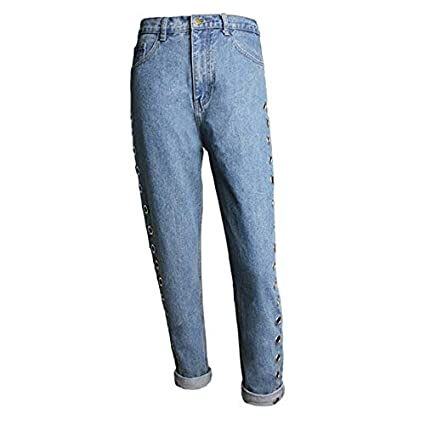 d4a854f522b Amazon.com  Culturemart Baggy Jeans Women Pants Denim Vintage Straight Jeans  for Girl High Waist Pants Female Loose Hollow Out Rivets  Kitchen   Dining