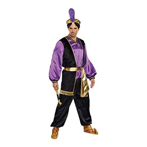 Prince Aladdin Costumes (Dreamgirl Men's The Sultan Costume, Purple/Black/Gold, Medium)
