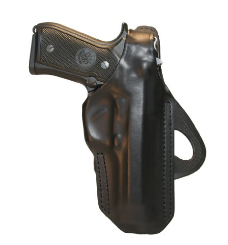 BLACKHAWK! Angle Adjustable Leather Paddle Black Holster, Size 01, Right Hand