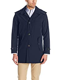 Tommy Hilfiger Men\'s Hooded Rain Trench Jacket, Navy, XXL