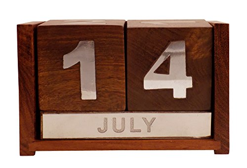 Crafts'man Wooden Never Ending Date Calendar for Office Desk Decoration. year calendar wooden table top lifetime dice type calender