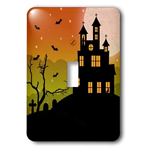 3dRose Janna Salak Designs Halloween - Halloween Haunted House and Graveyard - double toggle switch (lsp_310667_2)]()