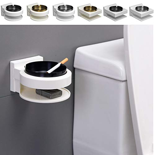(Gotian Ash bin Wall Mounted Ashtray Outside Pub Garden Office Smoking Box Tray cigaret ~ Suitable for The Side of The Wash Basin, The Side of The Toilet ~ Wall-Mounted Ashtray ~ (A))