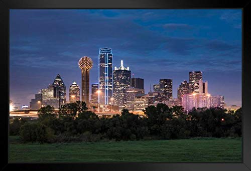 - Dallas Texas Skyline Buildings Reunion Tower Illuminated at Night Photo Framed Poster 20x14 inch