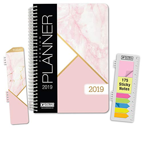 HARDCOVER Calendar Year 2019 Planner: (November 2018 Through December 2019) 5.5x8 Daily Weekly Monthly Planner Yearly Agenda. Bonus Bookmark, Pocket Folder and Sticky Note Set (Pink Marble Triangles)