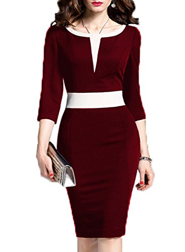 WOOSEA Women's 2/3 Sleeve Colorblock Slim Bodycon Business Pencil Dress (X-Large, Burgundy+White)