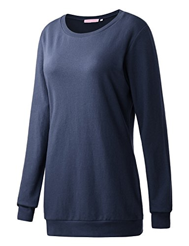 French Terry Sweatshirt - Regna X Boho for Women's French Terry Over fit Comfortable Navy Small Tunic Pullover Sweats Sweatshirts for Leggings