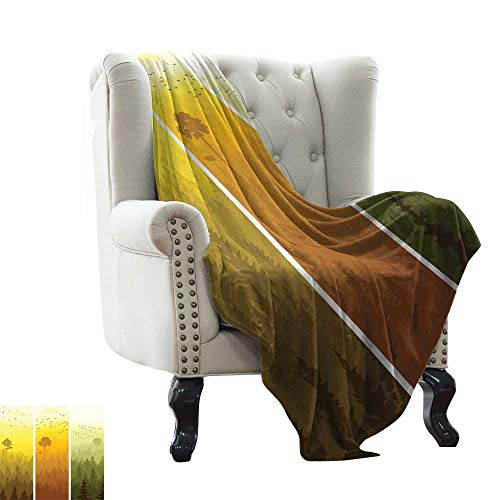 LsWOW Women's Blanket Forest,Vertical Banners with Hills Trees and Birds Views from Rural Countryside,Green Orange Yellow Blanket for Sofa Couch TV Bed All Season 50