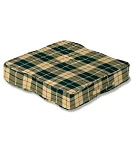 """Floor Cushion, 20"""" x 20"""" x 4"""" in Moss Plaid"""