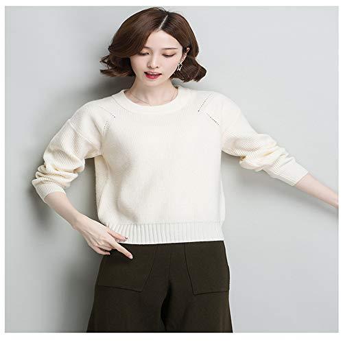 da da V Shirloy Shirloy maniche casual Camicia con donna Crema girocollo a a maglione scollo Bianco lunghe PPHRawq