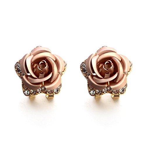 Hot Sale! Paymenow Women Girls Rose Rhinestone Small Earrings Fashion Eardrop Jewelry with Summer Dress (Begie) Pink Rose Gold Ruby