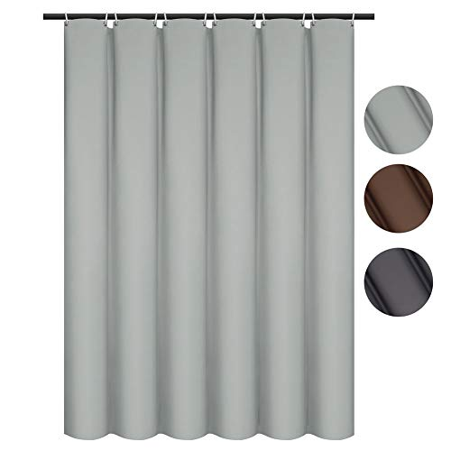 VCVCOO Solid Color Shower Curtain Waterproof Heavy Duty with Metal Grommets,Simple but Elegant Bath Curtain for Guest Hotel Bathroom(72x72 inch, Silver Grey)