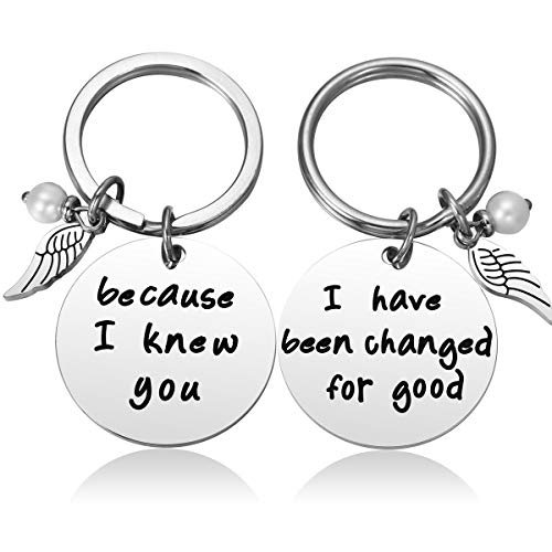 JZSTA Wicked Musical Best Friends Keychains for Broadway Musical Fans 2pc Because I Knew You I Have Been Changed for Good, Elphaba/Glinda Key Chains, Wicked Key Rings
