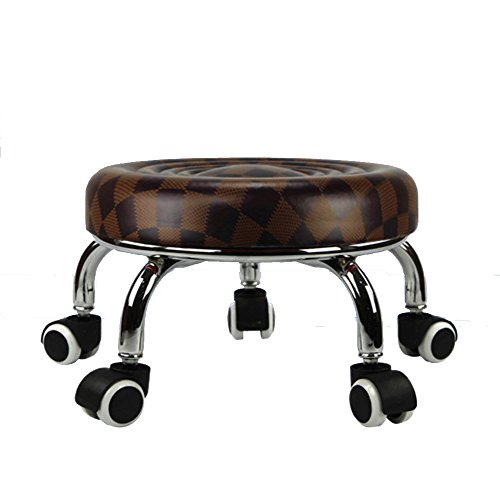 Round Bench Creative Wheeled Stool Mobile Pot Rack Sofa Stool Low Stool Stepped Pulley Stool with (Round Mobile Stool)