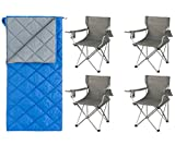 OZARK TRAIL Quilted 40 Degree Synthetic Sleeping Bag, Blue Bundle Classic Folding Camp Chairs, Set of 4
