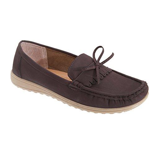 Amblers - Zapatos estilo mocasín para mujer Marrón