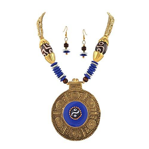 Zephyrr Fashion Tibetan Handmade Beaded Pendant Necklace Earrings Set for Women ()