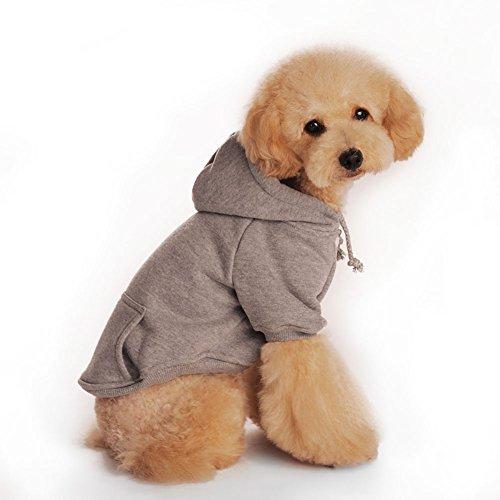 Pet Puppy Dog Warm Fleece Hoodie Winter Clothes Pet Clothes (gray, L)