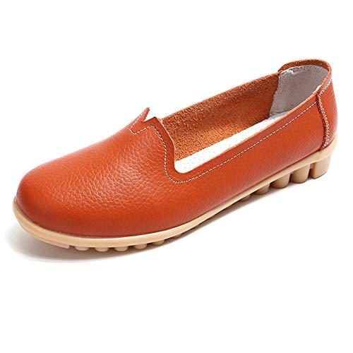 Orange De On Loisir Cuir Femmes Chaussures Bateau Loafers Plates Moccasins Slip Conduite Gesimei aXqx7w00