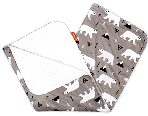 Gear Custom (Dear Baby Gear Deluxe Baby Blankets, Custom Minky Print Double Layer, White Polar Bear on Taupe, White Minky Dot, 38 inches by 29 inches)