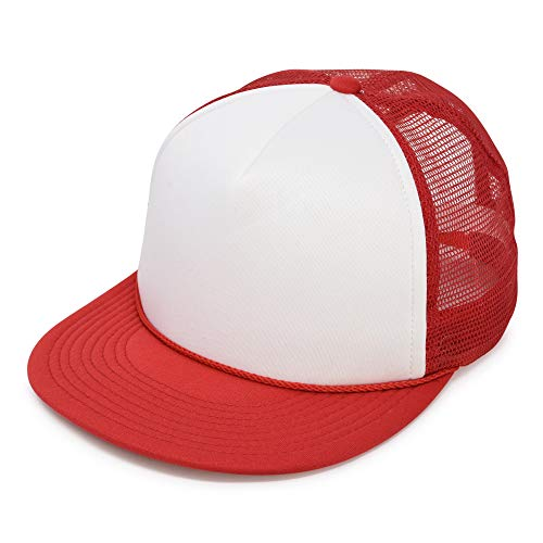 Flat Billed Trucker Cap with Mesh Back in Red-White
