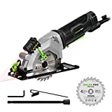 Circular Saw, GALAX PRO 4Amp 3500RPM Mini Circular Saw with Laser Guide, Max. Cutting Depth1-11/16'(90°), 1-1/8'(45°)Compact Saw with 4-1/2' 24T TCT Blade, Vacuum Adapter, Blade Wrench, and Rip Guide