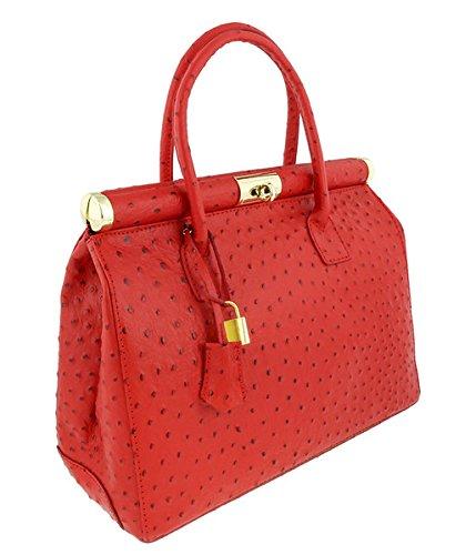 [HS Collection HS8005 SRO MINERVA Red Satchel/Shoulder Bag] (Minerva Collection Fashion)