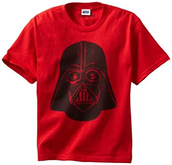 Mighty Fine Big Boys' Short Sleeve Simple Vader, Red, Small
