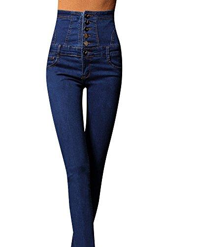 ZiXing Nuevo Tipo de Mujer Cuatro Botones Skinny Denim Mameluco Mono Babero Pantalones Largos Azul 2