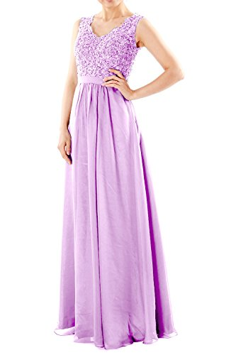 Party Gown Chiffon V Neck Dresses Lace Prom MACloth Evening Lavendel Long Formal Women w1TnqPnzO
