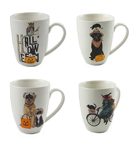 Halloween Themed Ceramic Coffee Mugs - Set of 4 -