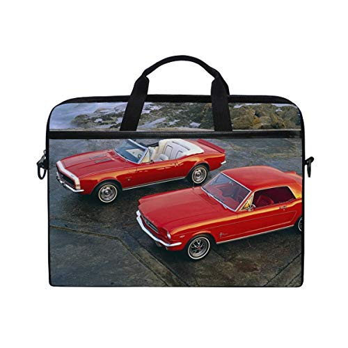 Muscle Cars 1964 Ford Mustang Hardtop Coupe 1967 Chevrolet Camaro Ss Convertible Laptop Shoulder Messenger Bag Case Sleeve for 14 Inch to 15.6 Inch with Adjustable Notebook Shoulder Strap