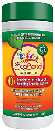 Bug Band DEET-Free Insect Repellent Wipes, 40-Count Tub