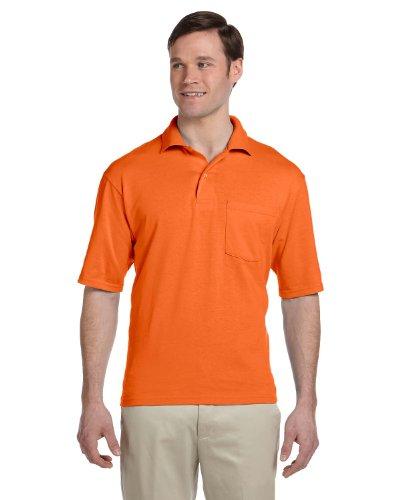 - Jerzees mens 5.6 oz. 50/50 Jersey Pocket Polo with SpotShield(436P)-SAFETY ORANGE-XL