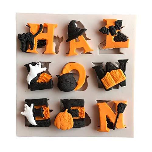 AkoMatial Nonstick Cake Mold, Halloween Letter Ghost Cat Pumpkin Silicone Fondant Mold Cake Sugarcraft Decor - Off-white