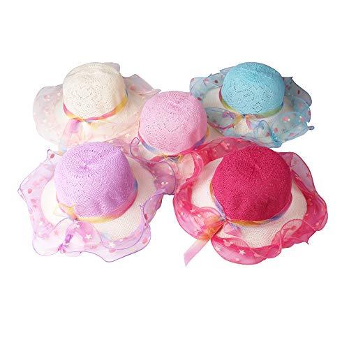 JIAKAI Girls Sunflower Straw Tea Party Hat Set (5Pcs, Assorted Colors)