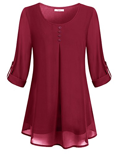 - Cestyle Blouses for Women, Girls Pleated Swing Chiffon Material Long Sleeve Red Shirt Office Trapeze Christmas Fitted Flattering Sheer Fave Ruffle Modern Baggy Monocolor Pintuck Tunic Fall Clothing M