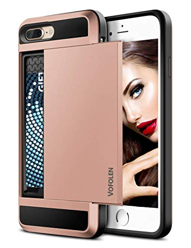 - Vofolen Case for iPhone 7 Plus Case Wallet Card Holder Sliding Cover ID Slot Hidden Pocket Dual Layer Protective Hard Shell Soft TPU Rugged Bumper Armor Tough casing for iPhone 7 Plus 8 Plus Rose Gold