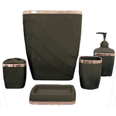 Carnation Home Fashions 5-Piece Plastic Bath Accessory Set, Brown - Constructed of durable plastic Fashion colors available Easy cleaning - bathroom-accessory-sets, bathroom-accessories, bathroom - 41roxH8c1 L. SS400  -