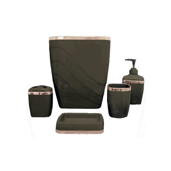 Carnation Home Fashions 5-Piece Plastic Bath Accessory Set - Constructed of durable plastic Fashion colors available Easy cleaning - bathroom-accessory-sets, bathroom-accessories, bathroom - 41roxH8c1 L. SS570  -