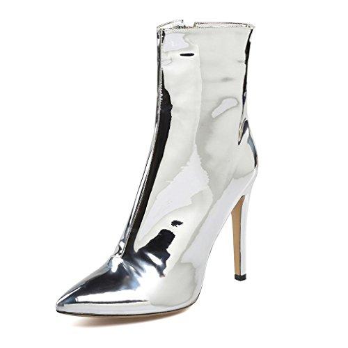 Lady tacón alto impermeable botas Botas de invierno de otoño Zapatos para salones de banquetes Cuero Talla grande 8002FD , A , 44 A-41