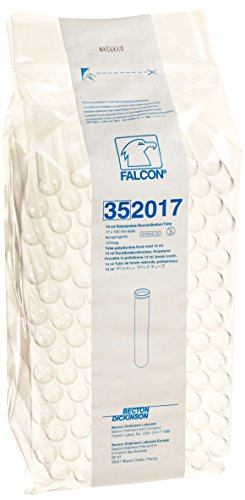 (BD 352017 Falcon Polystyrene Round Bottom Centrifuge Test Tube, 17mm Diameter x 100mm Length, 14mL Capacity, 1400 RCF (Case of 1000))