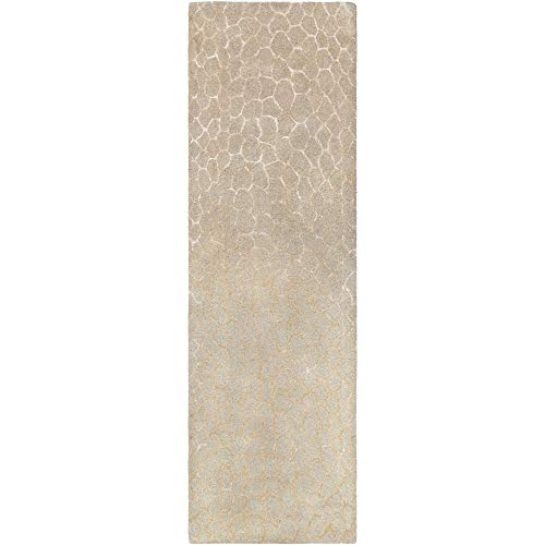 (Tiwari Home 2.5' x 8' Contemporary Style Beige and Ivory Rectangular Area Throw Rug Runner)