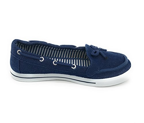 Toe Canvas Flat Oxford Slip Round Boat Shoe Women Sneaker Denim on EASY21 qHRx6Otwc