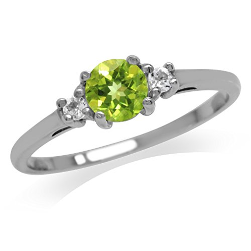 Petite Natural Peridot and White Topaz Gold Plated Sterling Silver Ring Size 7