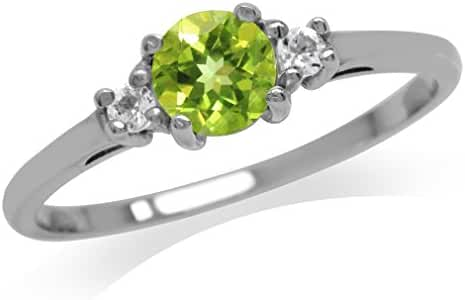 Petite Natural Peridot & White Topaz Gold Plated 925 Sterling Silver Ring