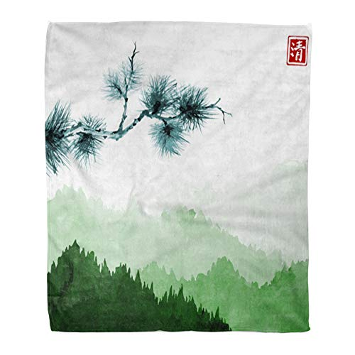 - Emvency Throw Blanket Warm Cozy Print Flannel Pine Tree Branch and Green Mountains Forest Trees in Fog on Rice Hieroglyph Comfortable Soft for Bed Sofa and Couch 50x60 Inches