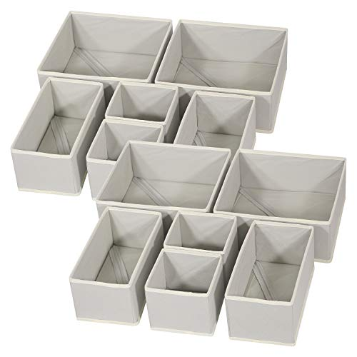 DIOMMELL Foldable Cloth Storage Box Closet Dresser Drawer Organizer Fabric Baskets Bins Containers Divider for Baby Clothes Underwear Bras Socks Lingerie Clothing,Set of 12 Grey 444
