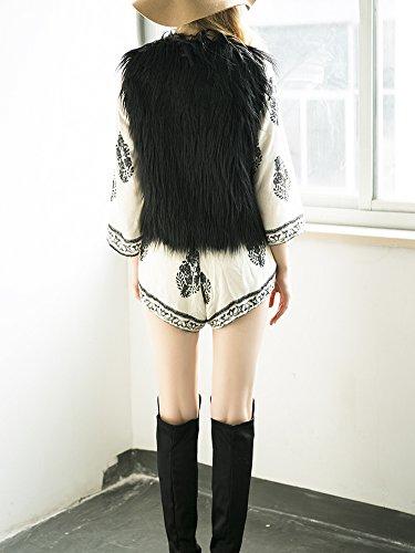 Apparel sans Outwear Simplee Fourrure Hiver chaude Automne Manteau Veste Femme Gilet Col fluffy Manches Casual Noir en Douche V Fausse dxrO8qrY